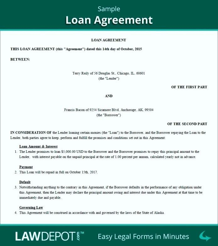 Free Family Loan Agreement Template Uk - Template Update234.com ...