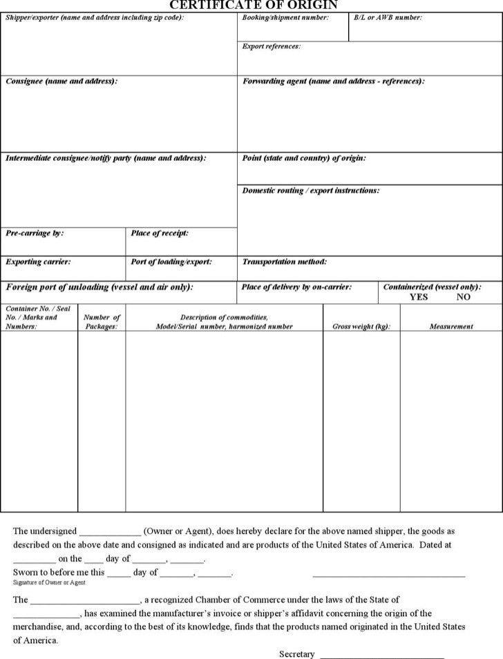 Nafta Certificate Template - Contegri.com