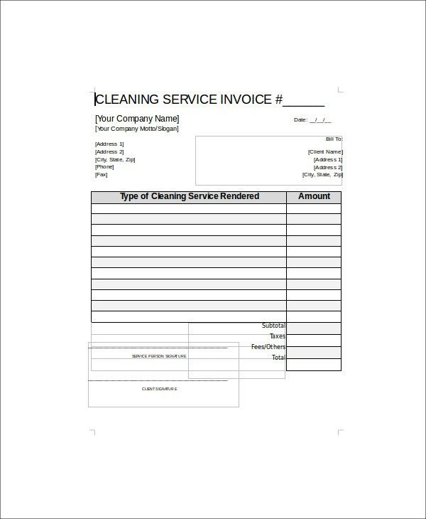 Sample Cleaning Service Receipt - 5+ Examples in Word, PDF