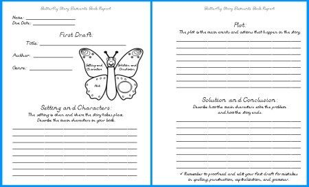 Butterfly Book Report Projects: templates, worksheets, rubric, and ...