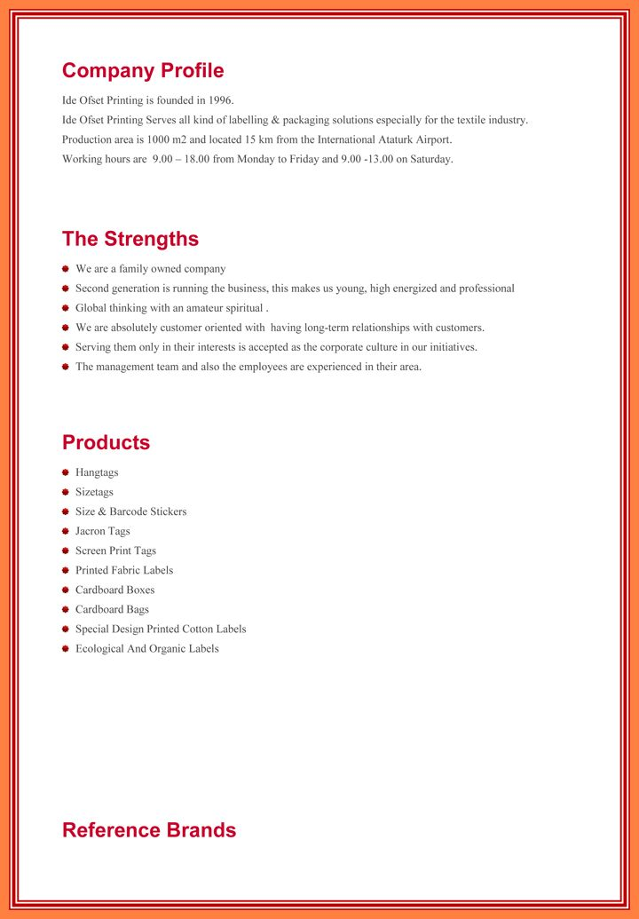 Format Of Company Profile Sample Company Profile Sample 7 Free – Sample Business Profile Template