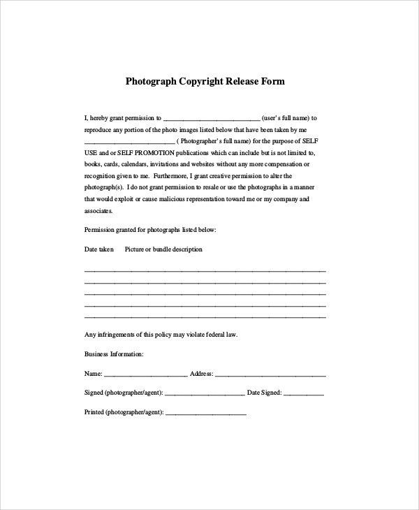 Photographer Release Form. Minor Photo Release Form Template Photo ...