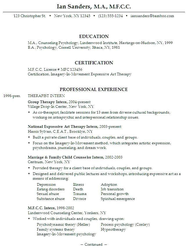 Psychology Resume Examples [Template.billybullock.us ]