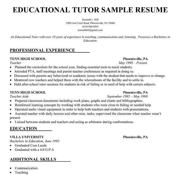Neoteric Ideas Tutor Resume Sample 4 Educational Tutor Resume ...