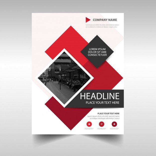Modern red commercial annual report template Vector | Free Download