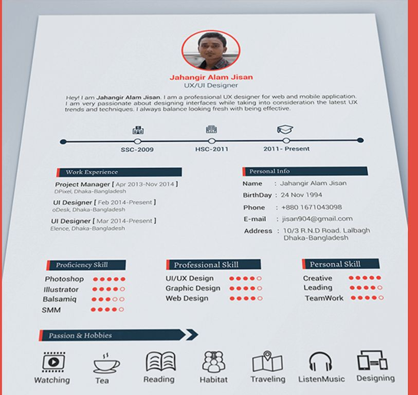 Homely Design Psd Resume Template 15 Free Elegant Modern CV Resume ...