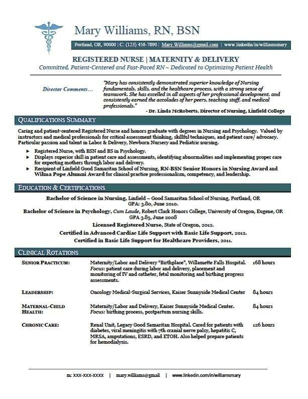Sample New Grad Nursing Resume 17 Best Ideas About Rn Resume On ...