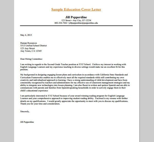 Sample Cover Letters For Education