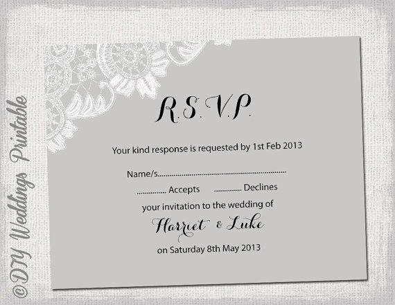 Wedding RSVP template download DIY Silver gray Antique