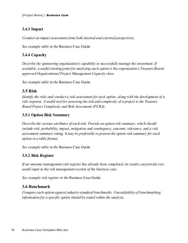 Business case template for project