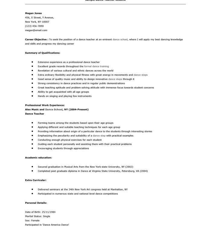 Dance Teaching Resume Sample. 25 best teacher resumes ideas on ...