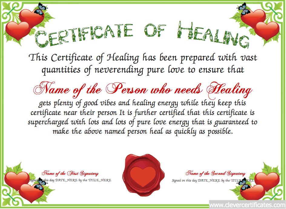 Healing Certificate Template or Get Well Soon Card. | Award ...