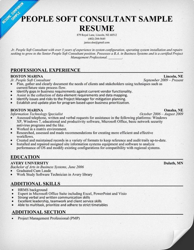 people soft consultant resume haadyaooverbayresortcom - People Soft Consultant Resume