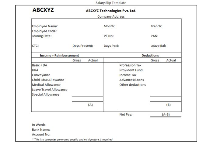 Computer Generated Monthly Employee Salary Slip Payslip Template ...