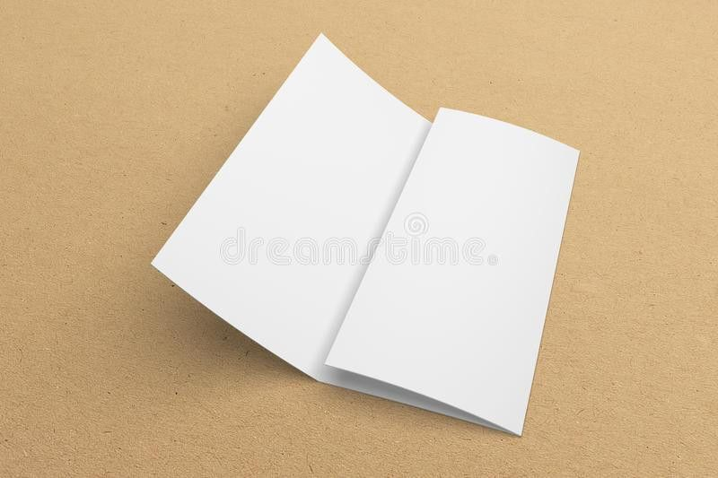 Blank 3D Rendering Tri-fold Brochure Mock-up With Clipping Path On ...