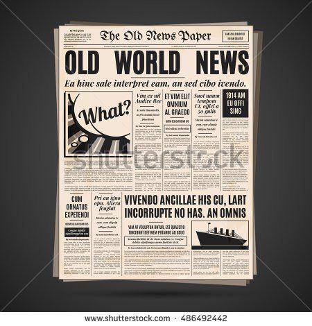 Old Newspaper Vintage Design Retro Vertical Stock Vector 485390740 ...