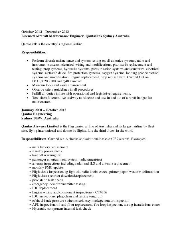 Download Aircraft Maintenance Engineer Sample Resume ...