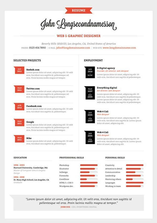 50 best Resume + CV Layouts images on Pinterest | Resume templates ...