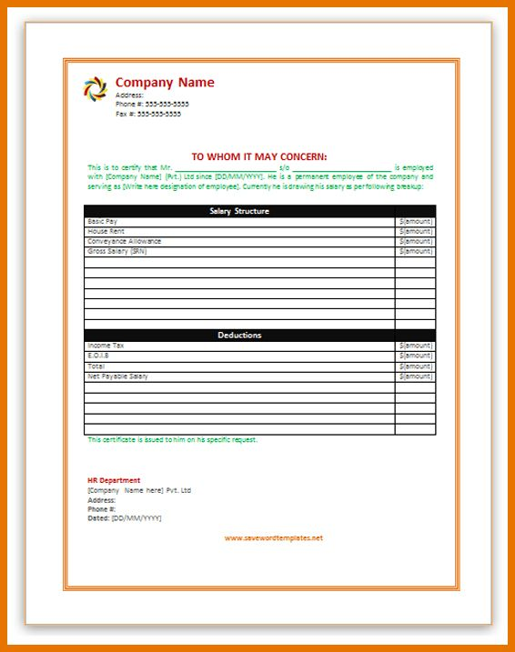 6+ salary certificate | Itinerary Template Sample