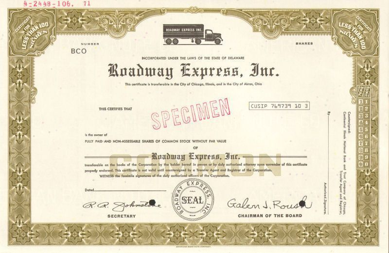 Roadway Express > Akron Ohio trucking company stock certificate ...