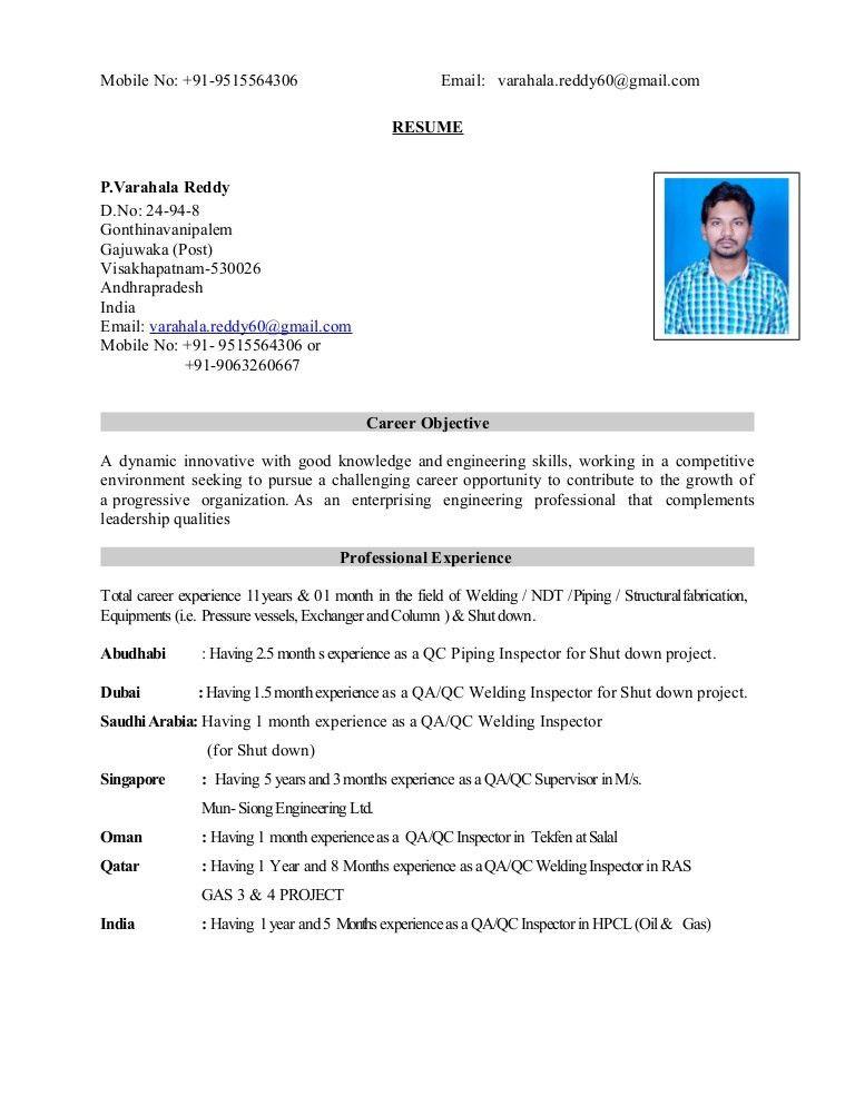 QA QC INSPECTOR CSWIP 3.1 & API 570 INSPECTOR RESUME - Copy - Copy