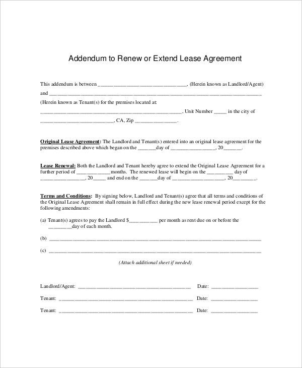 7+ Lease Renewal Templates - Free Sample, Example, Format | Free ...