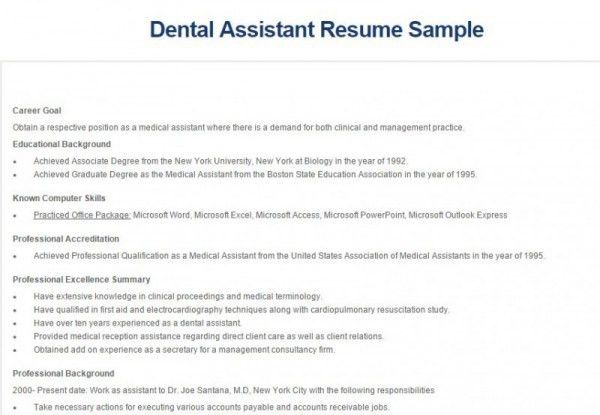 5+ Best Dental Assistant Resume