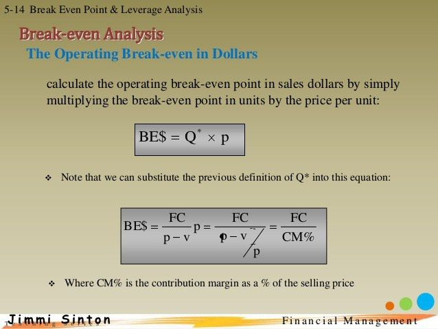 Fin man 5 break even point and leverage analysis