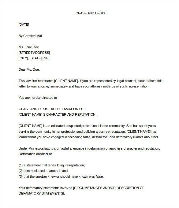 Cease And Desist Letter Slander | Best Business Template