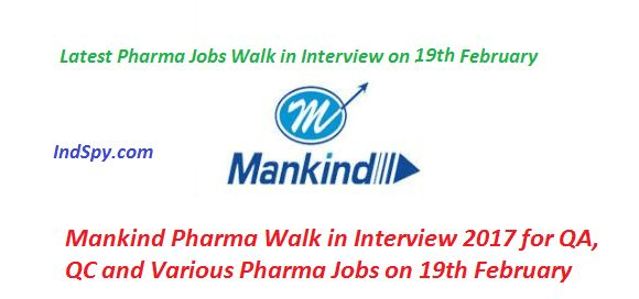 Mankind Pharma Walk in Interview 2017 for QA, QC and Various ...