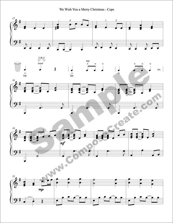Wish You a Merry Christmas - Cups - PDF