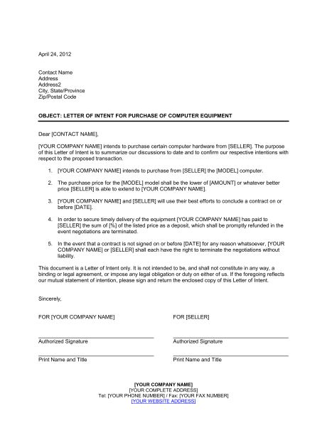 Letter of Intent for Purchase of Computer Equipment - Template ...