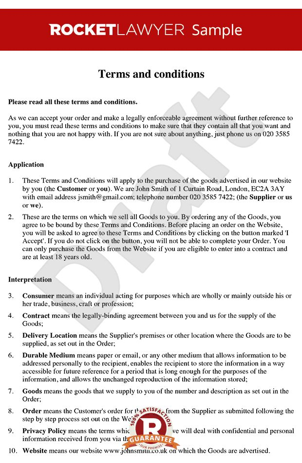 & Conditions for Sale of Goods to Consumers via a Website