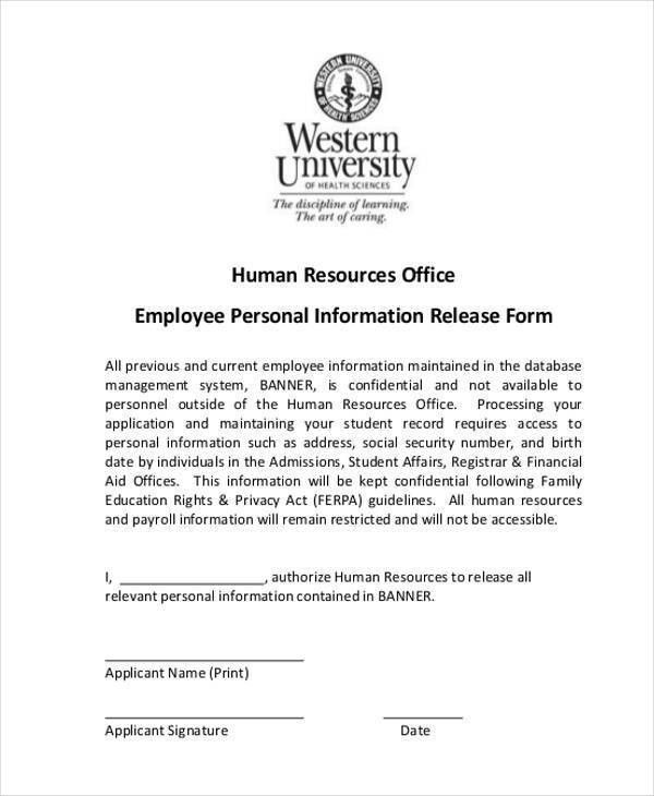 9+ Employee Release Form Samples - Free Sample, Example Format ...