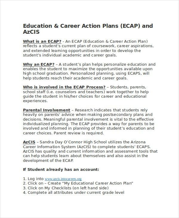Career Action Plan Template – 11+ Free Sample, Example, Format ...