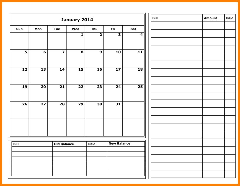 11+ budget calendar template | monthly bills template