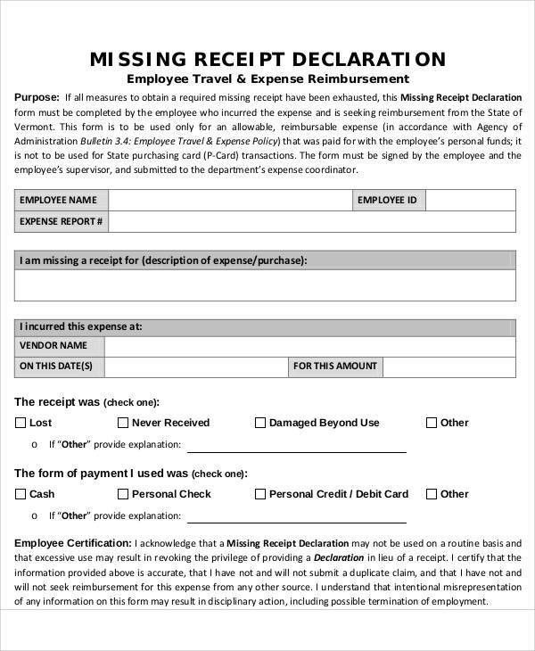 missing receipt form template