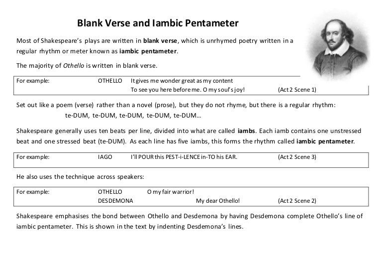 Blank Verse and Iambic Pentameter