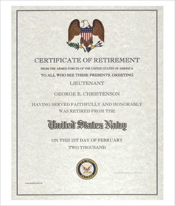 9+ Retirement Certificate Templates – Free PDF Format Download ...