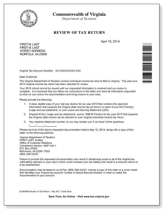 Virginia Department of Taxation Review of Tax Return Letter