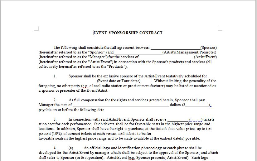 EVENT SPONSORSHIP CONTRACT – OnlineMusicContracts.Com