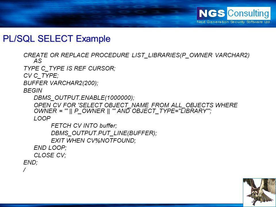 Oracle PL/SQL Injection David Litchfield. What is PL/SQL ...