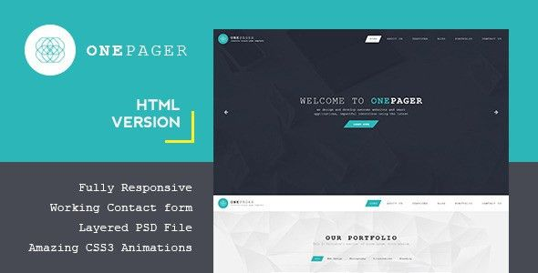 Onepager - Responsive One Page HTML Template by PremiumLayers ...