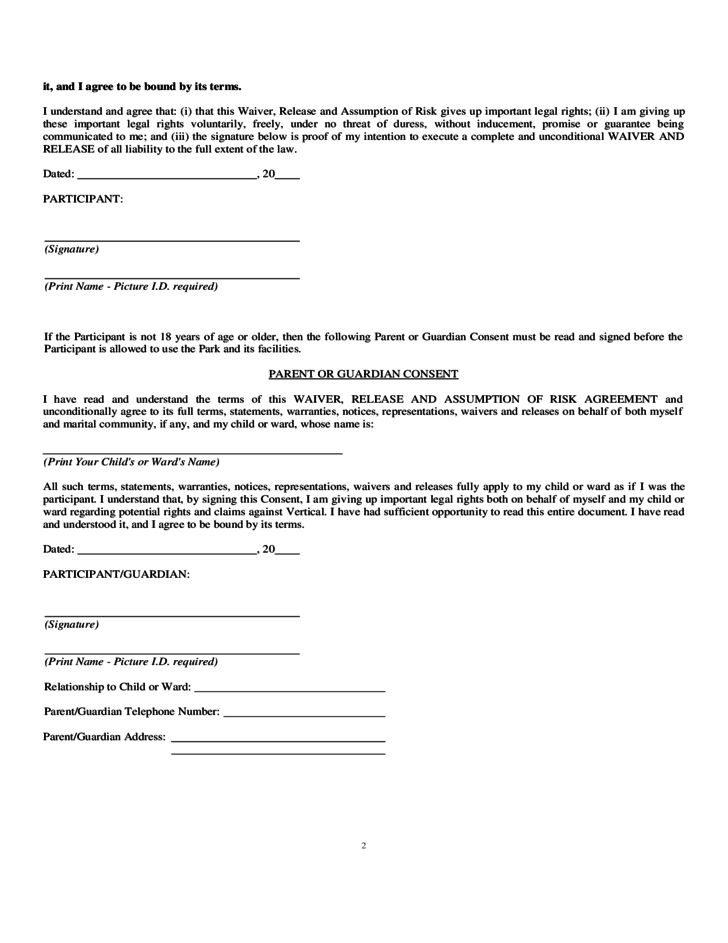 Trampoline Waiver Form - Arkansas Free Download