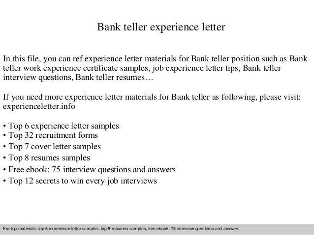 cover letter for a bank teller
