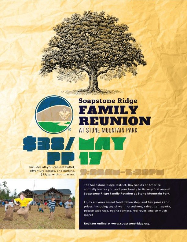 Family-Reunion-Flyer | Soapstone Ridge District, Boy Scouts of America