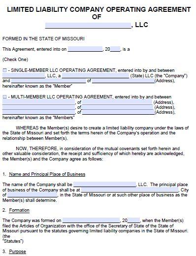 Free Missouri LLC Operating Agreement Template | PDF | Word |