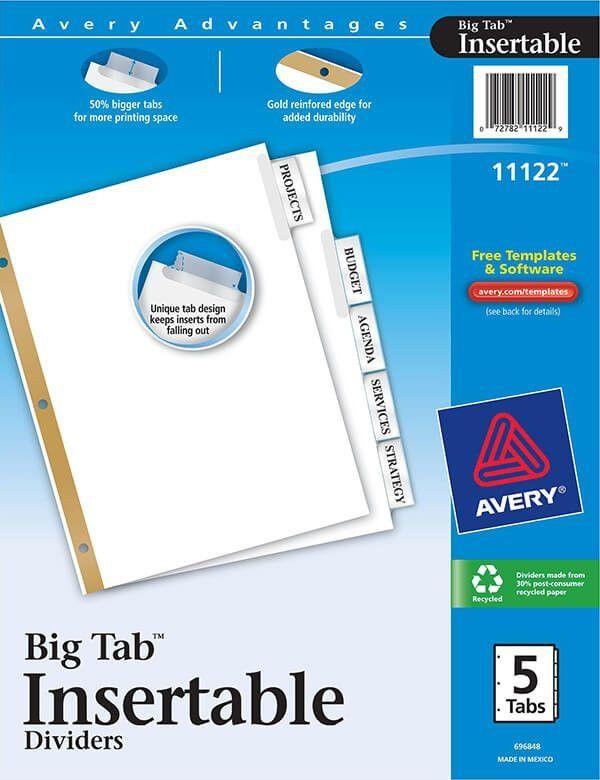 Avery Big Tab Template | Template Design