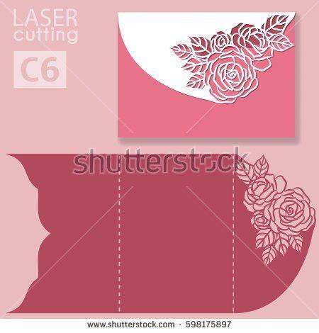 Vector Die Laser Cut Envelope Template Stock Vector 598175897 ...