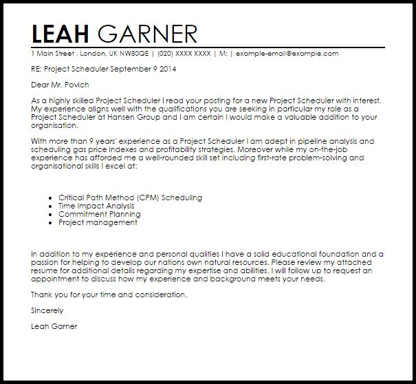 Project Scheduler Cover Letter Sample | LiveCareer